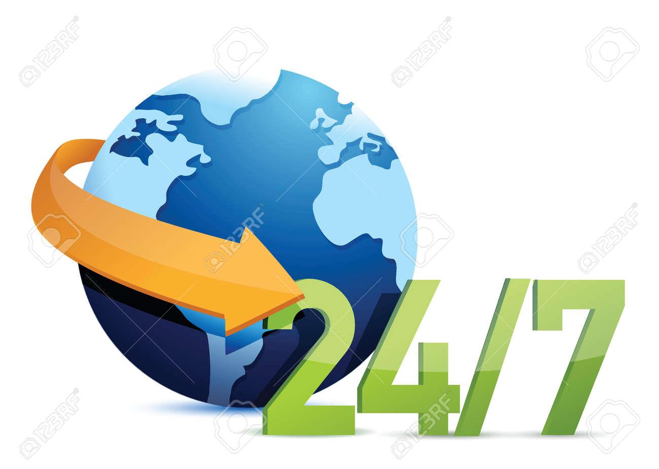 globe all day service concept illustration design over a white background Stock Vector - 17872123