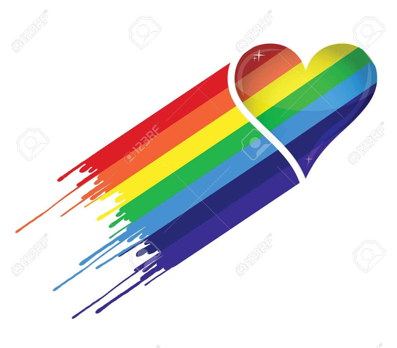 Rainbow heart and ink illustration design over a white background Stock Vector - 17872347