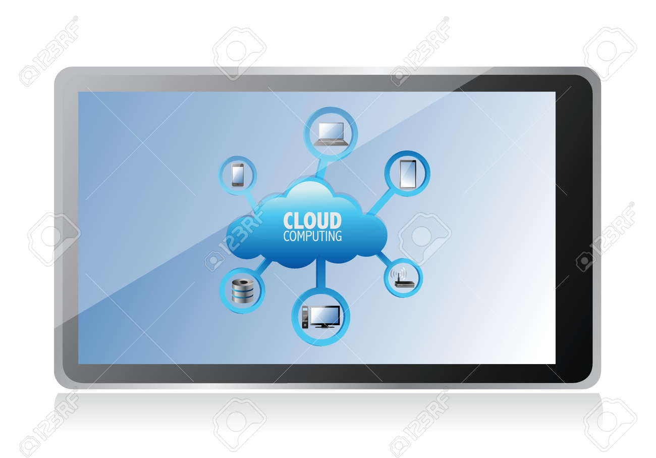 cloud computing concept on a tablet screen, illustration design Stock Vector - 17966356