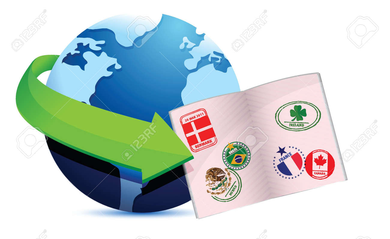 open passport globe sign illustration design over a white background Stock Vector - 17966499