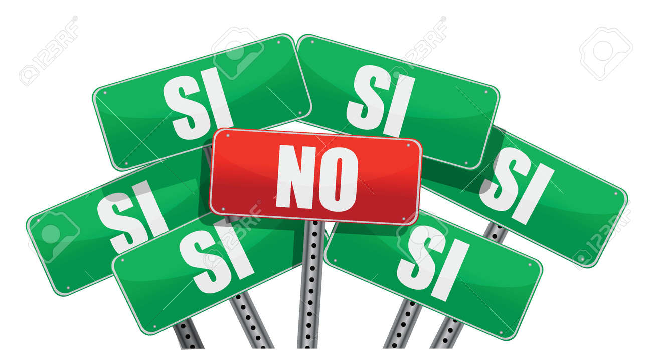 Yes and No signs in Spanish isolated on white background Stock Vector - 17966598