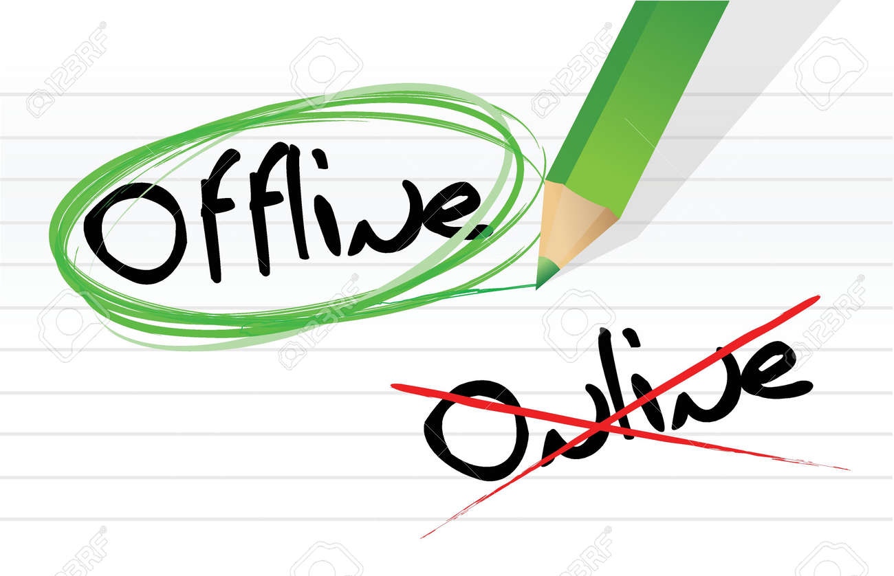online and offline selection options illustration design over white Stock Vector - 18002486