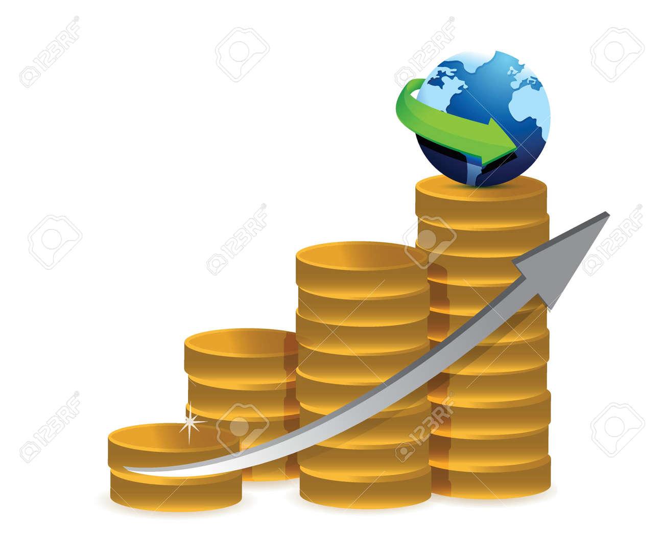 coin graph globe illustration design over a white background Stock Vector - 18031363