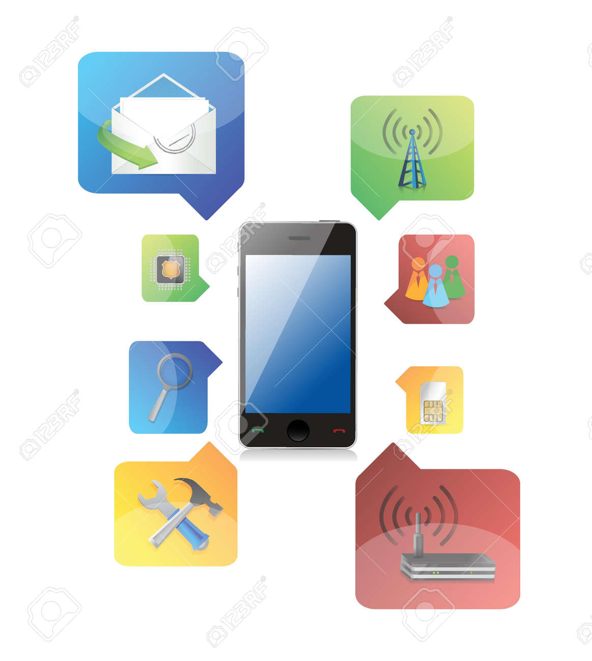 smart phone with icons illustration design on white background Stock Vector - 18063772