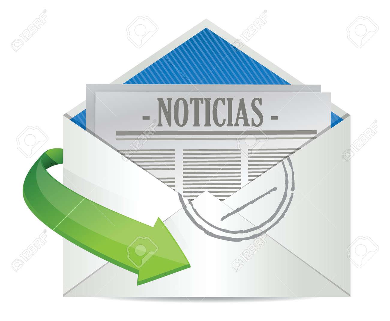 Open Envelope with News Paper inside in Spanish illustration design Stock Vector - 18158857