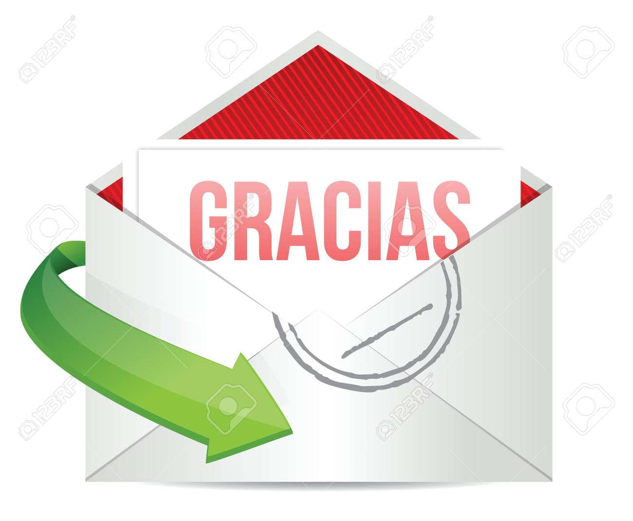 ありがとうございます感謝カード封筒白でスペイン語のイラスト