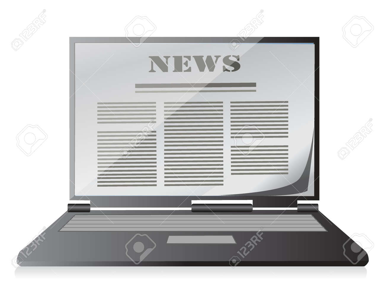 news instead of display on the notebook, laptop. Illustration Stock Vector - 18158678