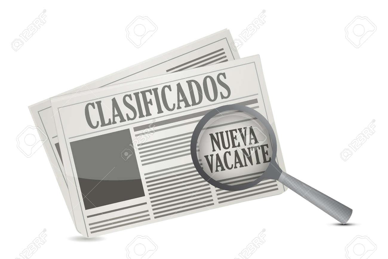 スペイン語のイラスト デザイン、白い背景の上に新聞で仕事の機会