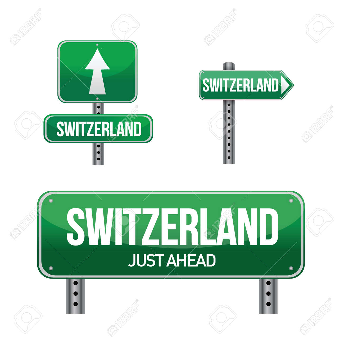 switzerland Country road sign illustration design over white Stock Vector - 18161771