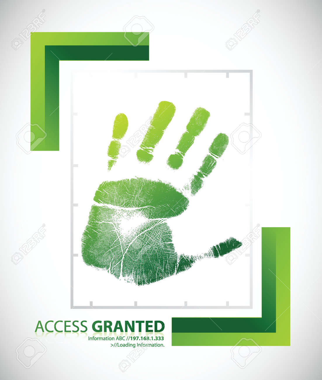 Biometric palm scanning screen with access granted text illustration design Stock Vector - 18210375