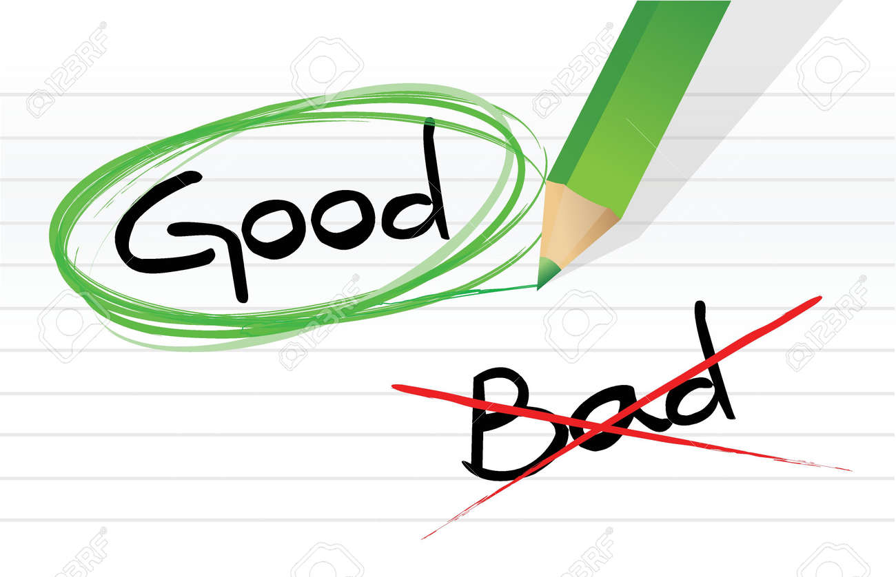 Good Vs Bad Illustration Design Graphic Over A Notepad Paper Royalty Rh 123rf Com And