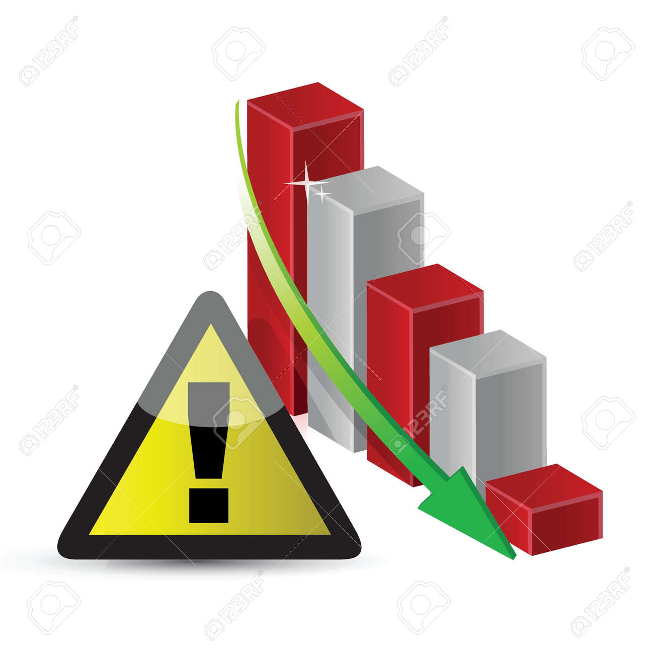 warning sign with a failing business graph illustration design Stock Vector - 18210344