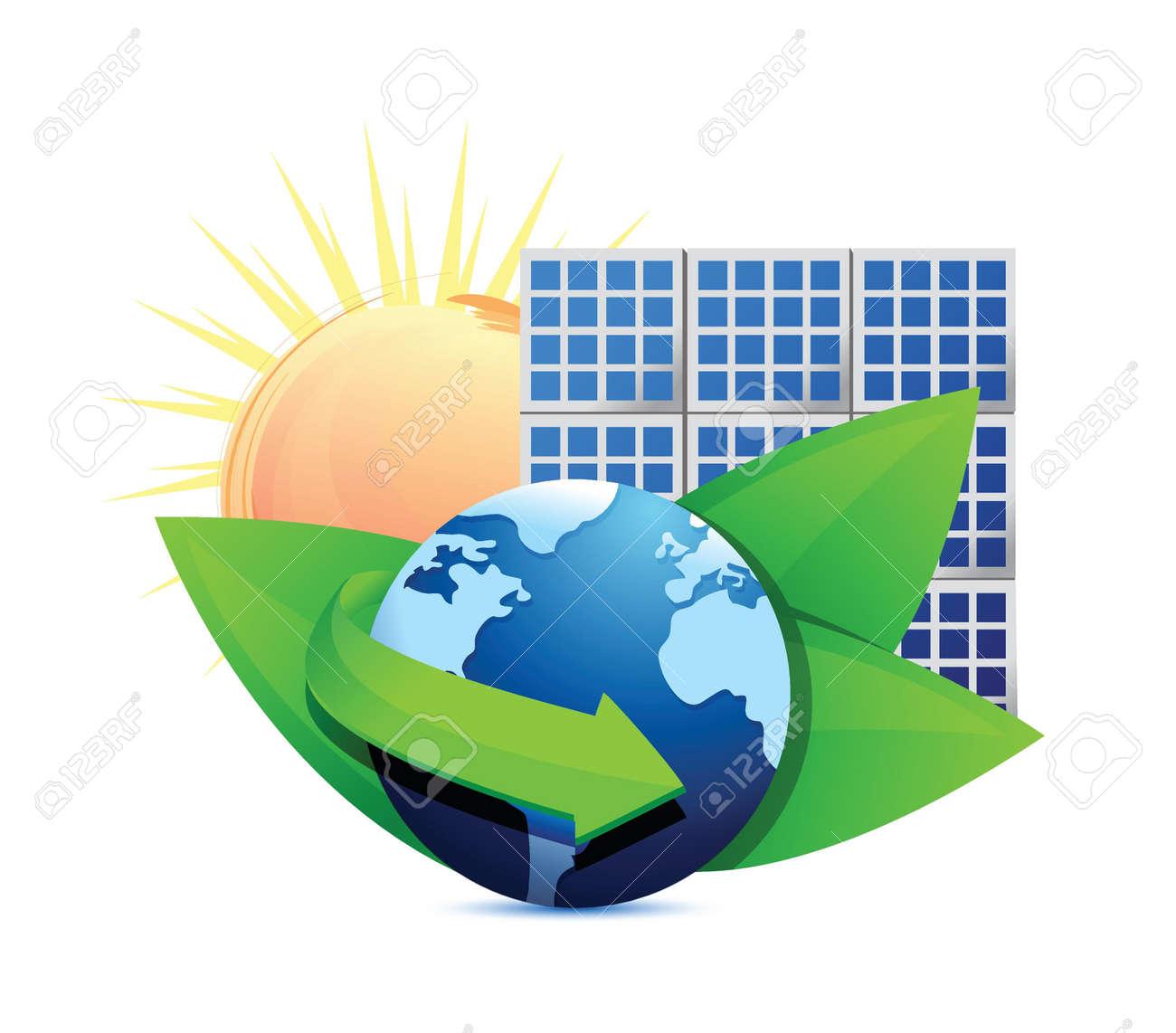 Renewal energy globe solar panel concept illustration design over white Stock Vector - 18210361
