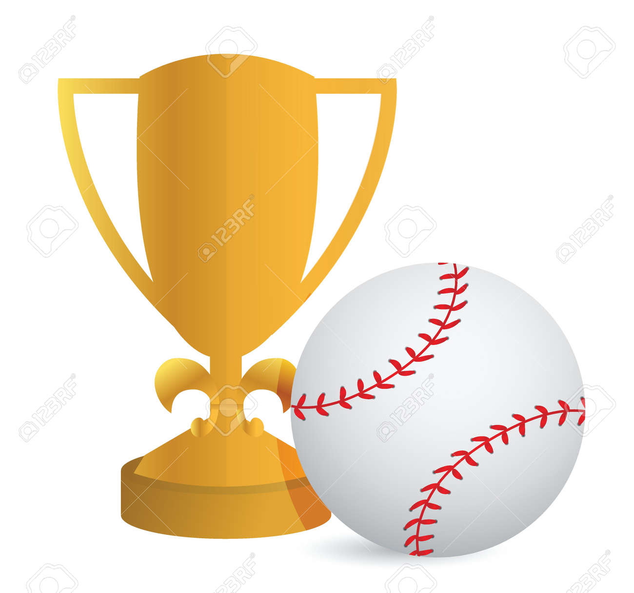 Gold Trophy Cup Baseball on a white background Stock Vector - 18427943