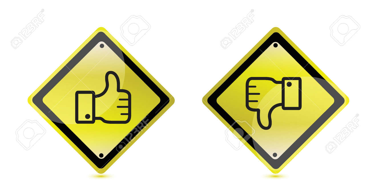 thumbs up and down warning sign illustration design Stock Vector - 18427858
