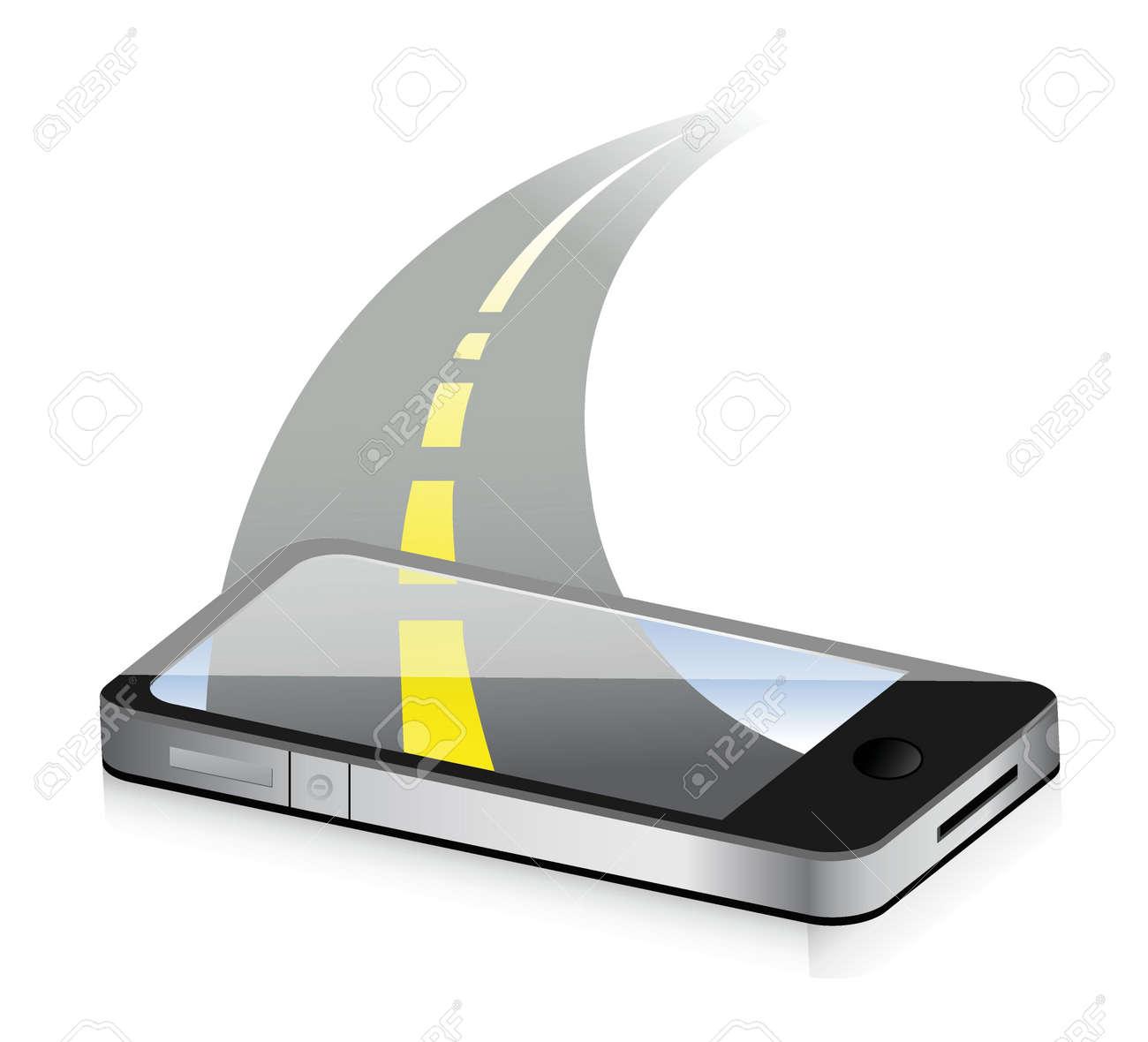 technology road concept. Smartphone illustration design over white Stock Vector - 18487087