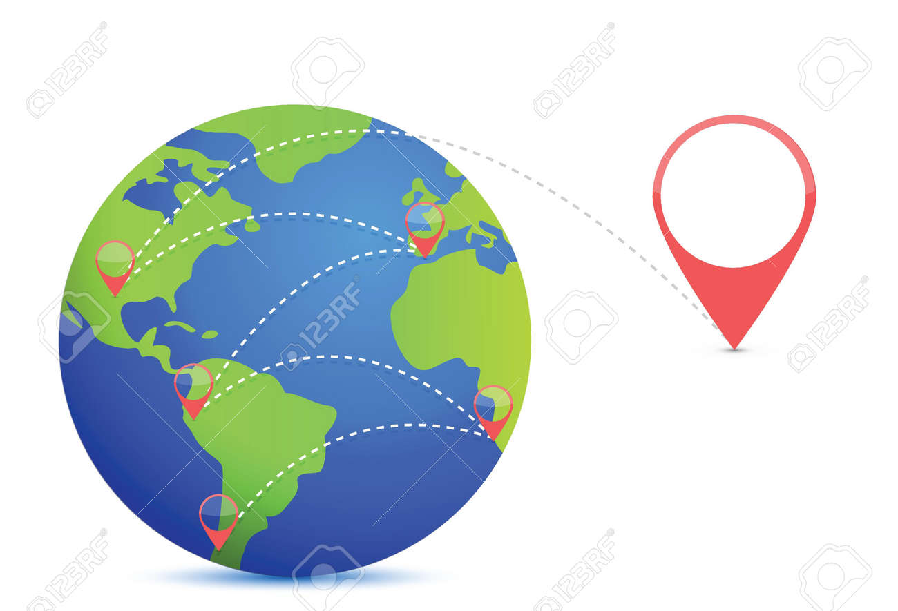 Earth and location points illustration design over white Stock Vector - 18487096