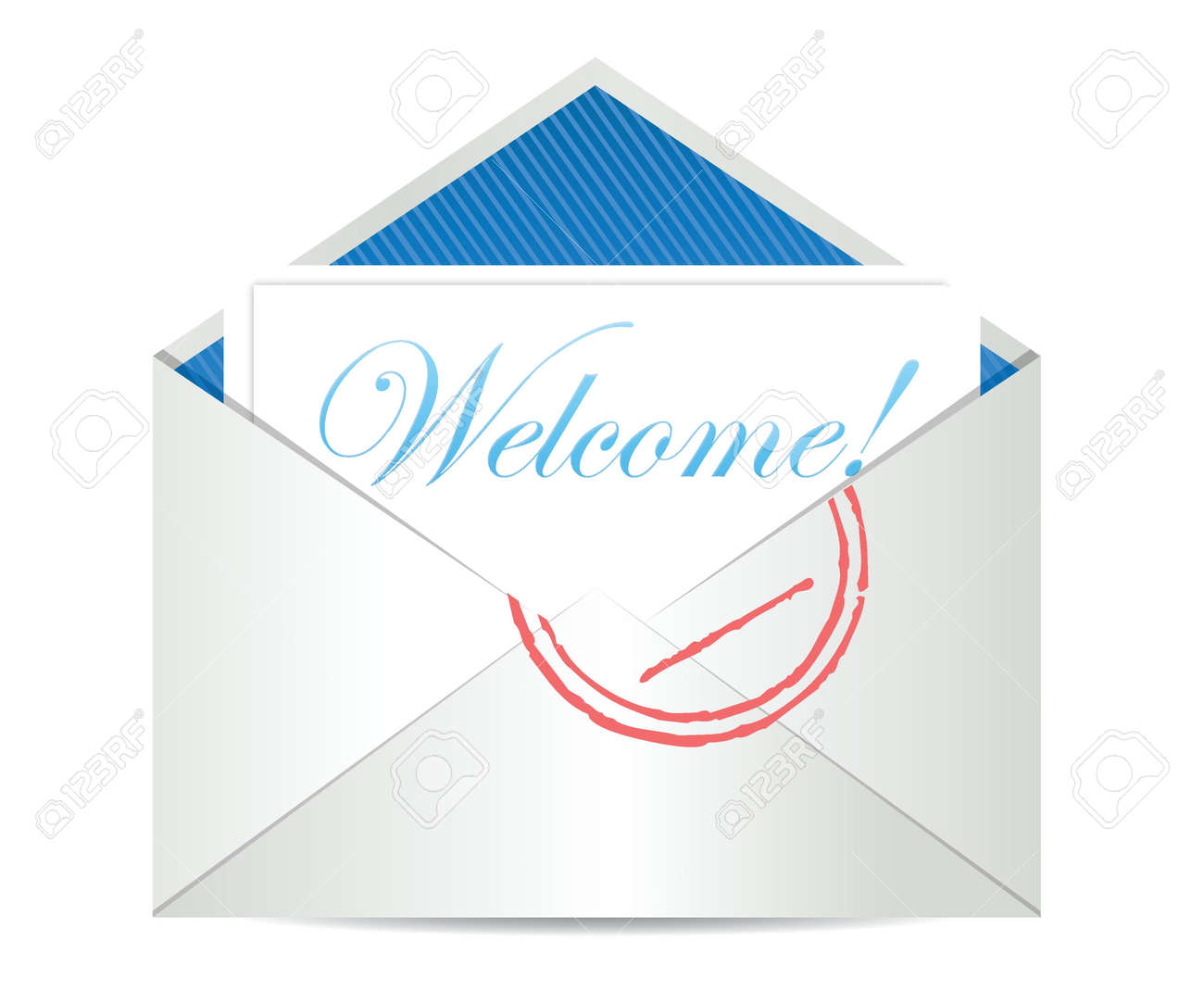 Welcome concept with open blank airmail envelope illustration Stock Vector - 18487064