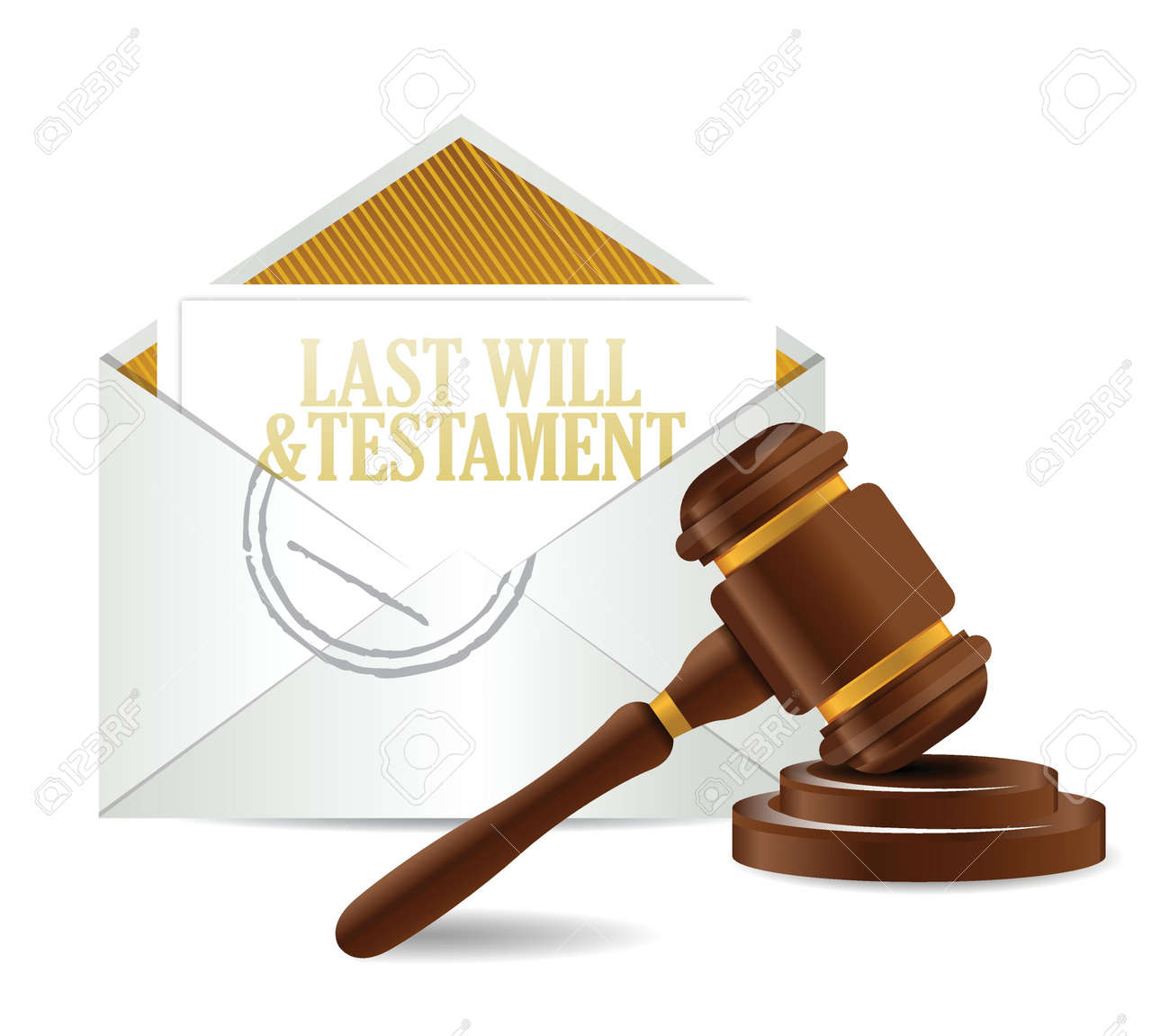 last will and testament document papers and gavel illustration design over a white background - 18593302