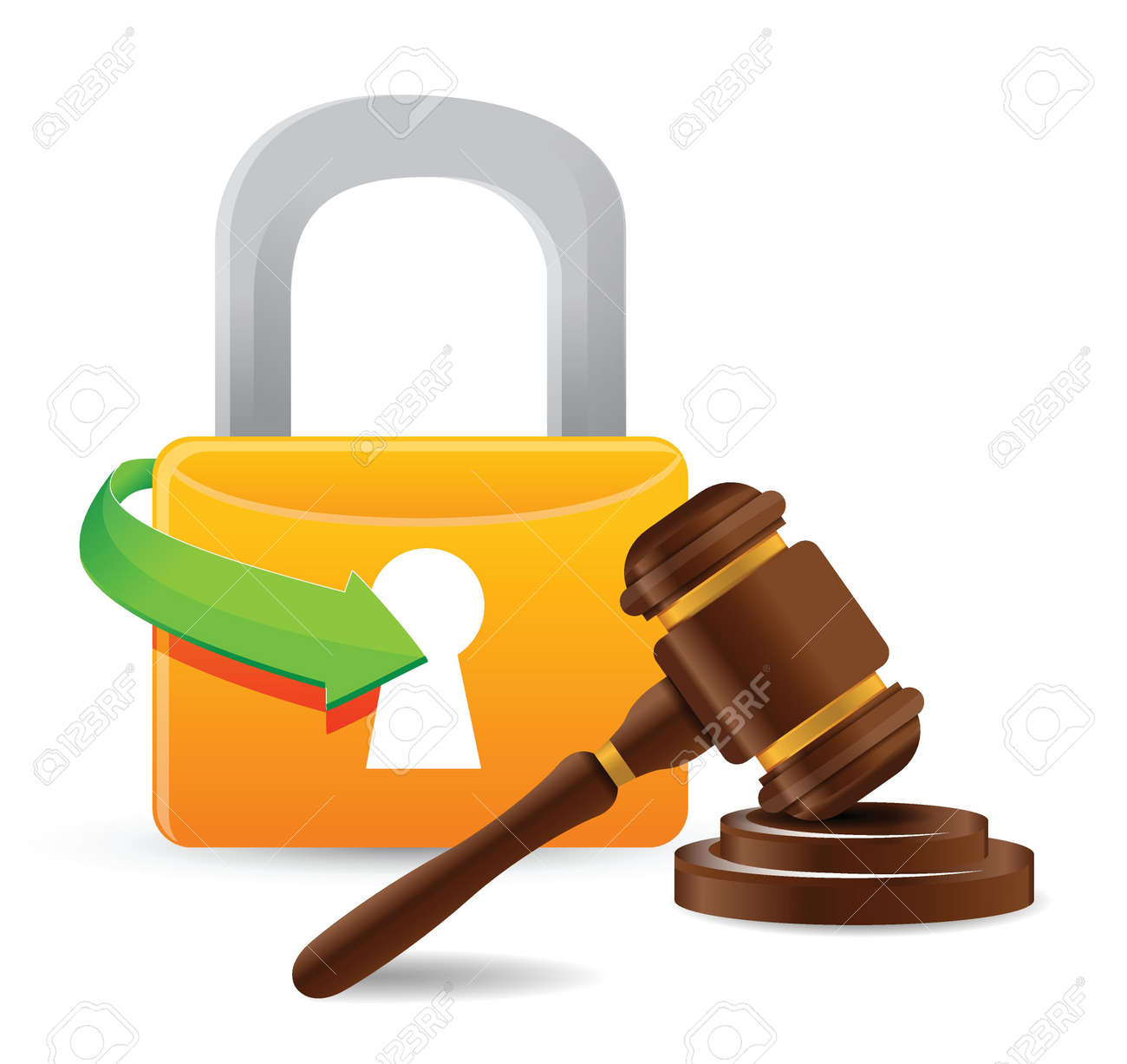 lock and gavel illustration design over a white background Stock Vector - 18593290