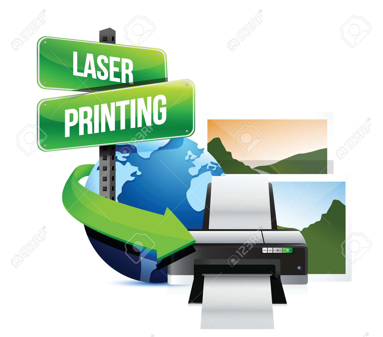 laser printing concept illustration design over white Stock Vector - 18728774