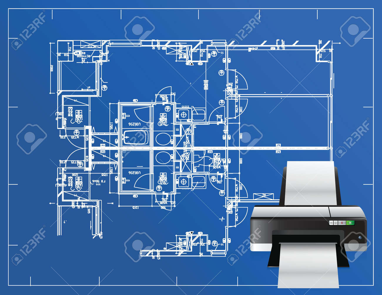 Printer blueprint illustration business design concept graphic printer blueprint illustration business design concept graphic foto de archivo 18728779 malvernweather Image collections