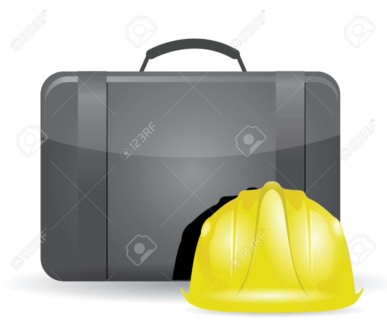 suitcase and construction helmet illustration design over white Stock Vector - 18806036