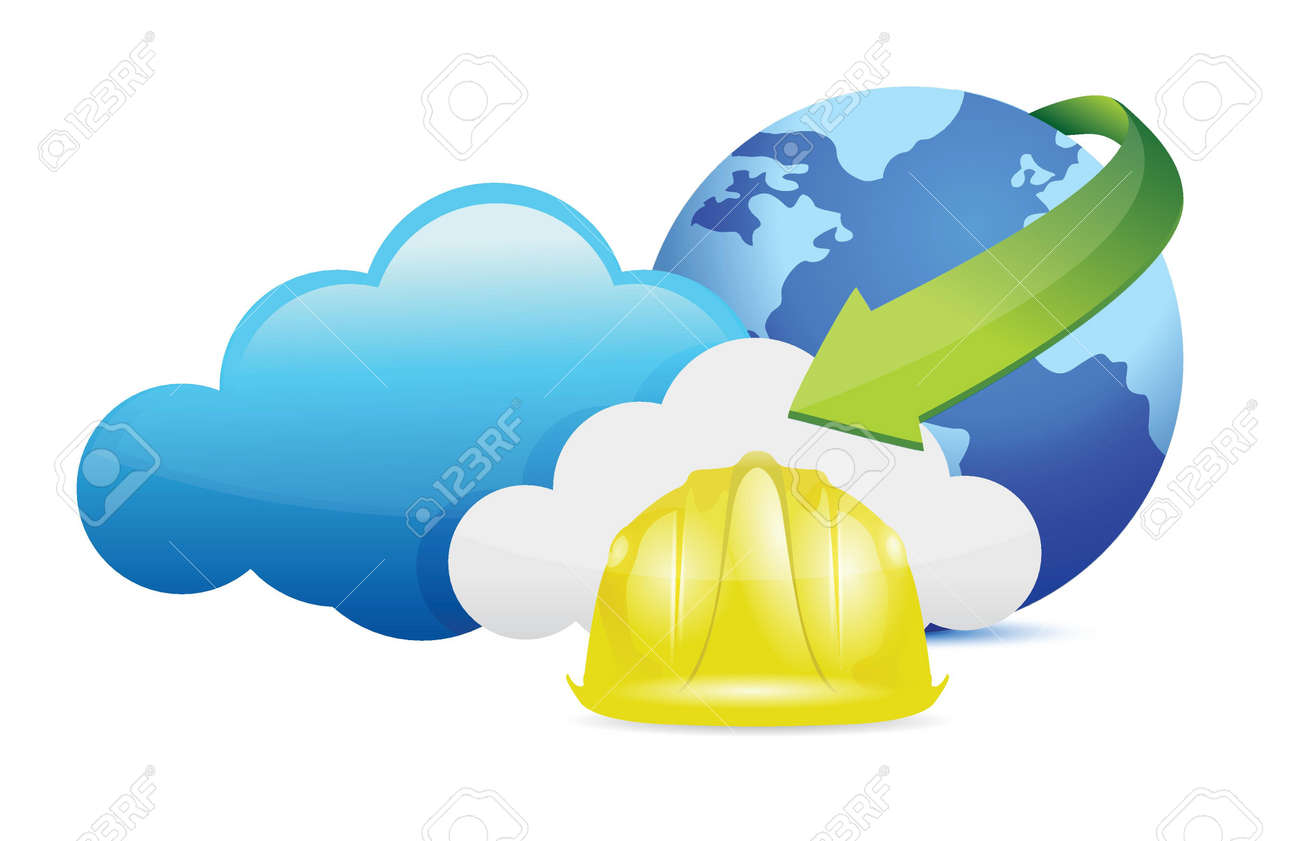 cloud computing issues under construction sign illustration design over white Stock Vector - 18806028