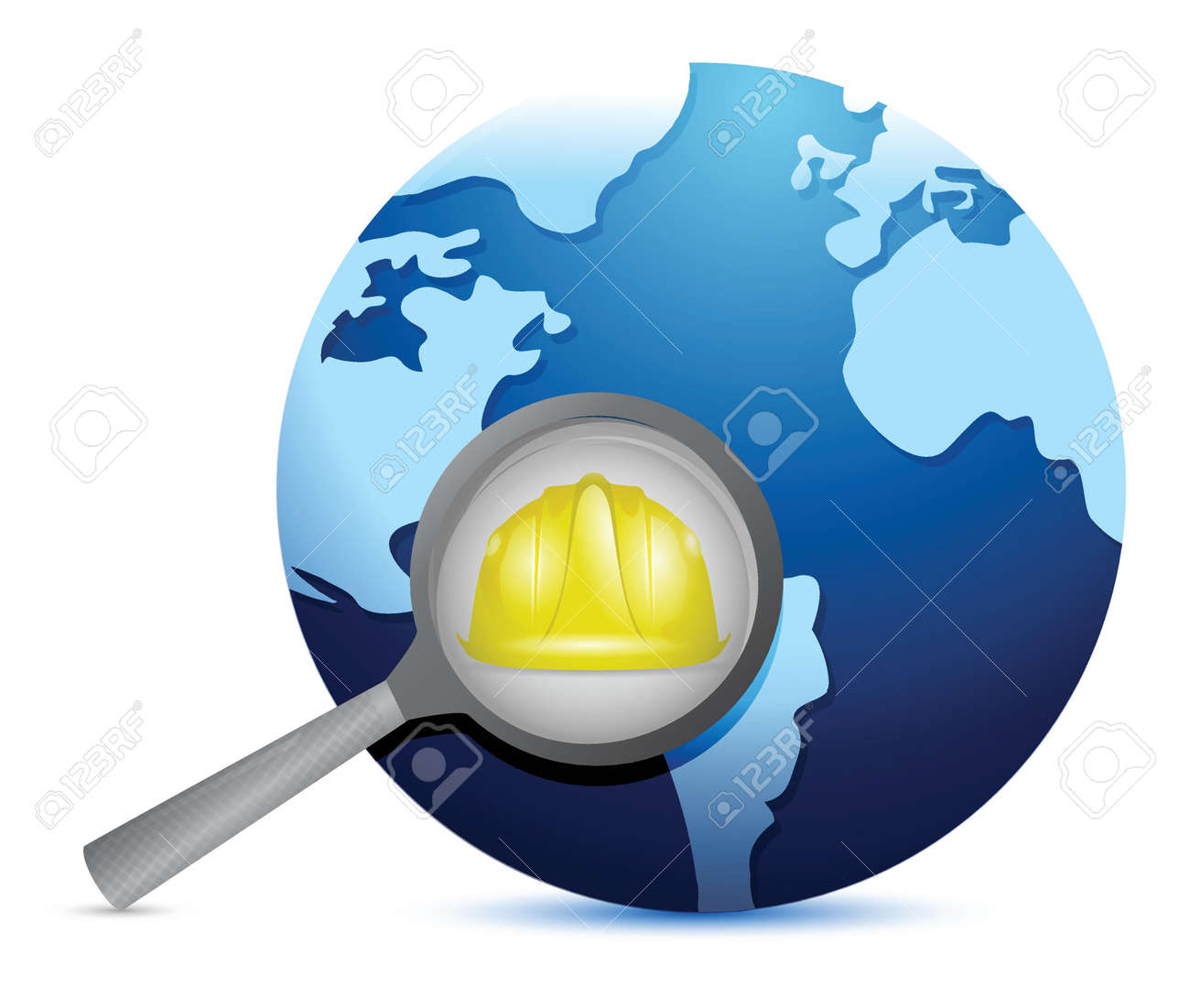 globe and magnify glass under construction illustration design over white Stock Vector - 18806100