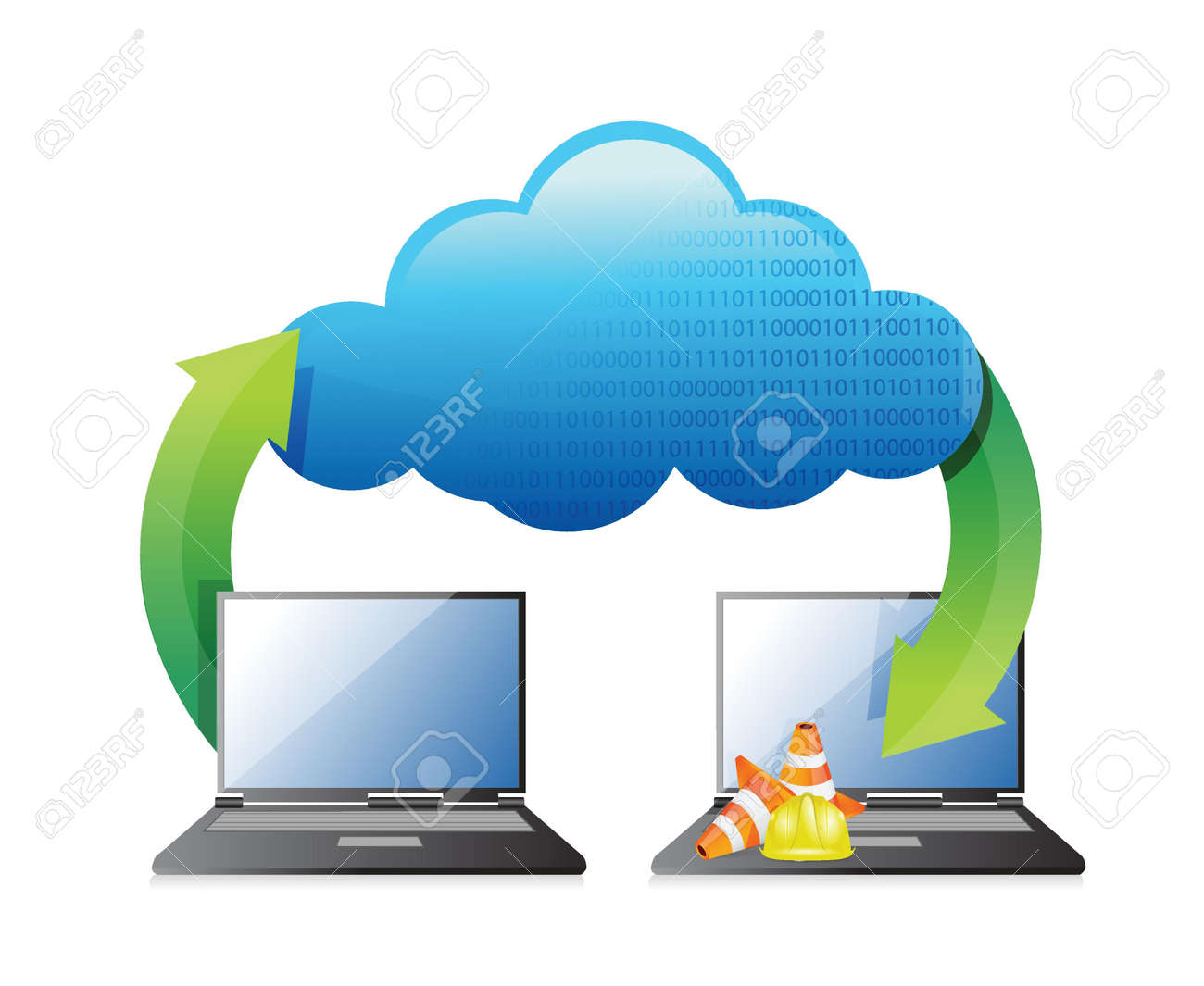 laptop cloud computing connection concept illustration design over white Stock Vector - 18806108