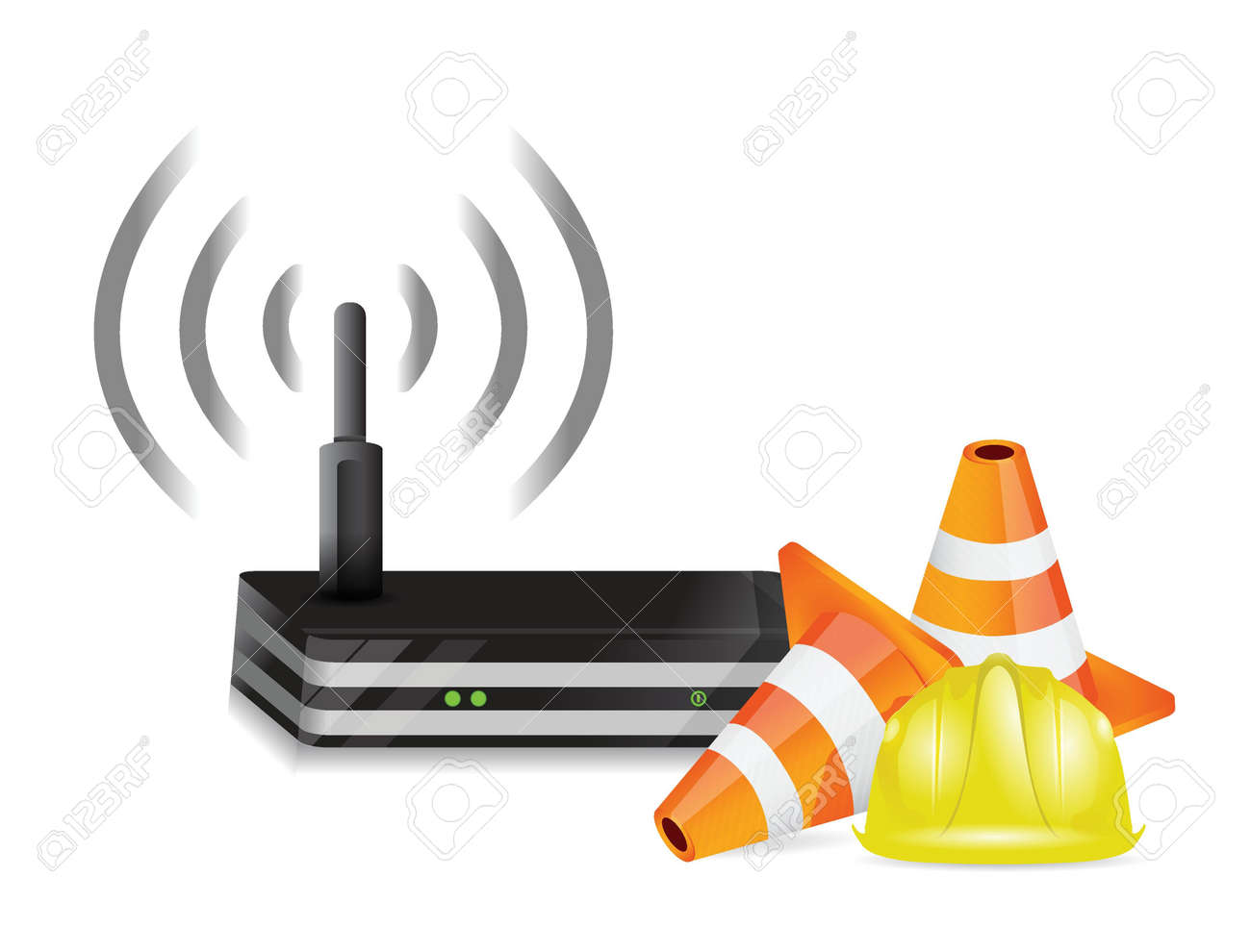 router and protection barrier illustration design over white Stock Vector - 18806117