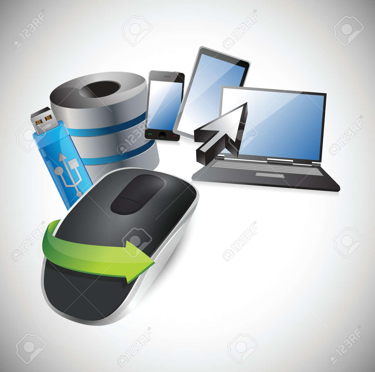 electronic tools. Wireless computer mouse isolated on white background Stock Vector - 18913126