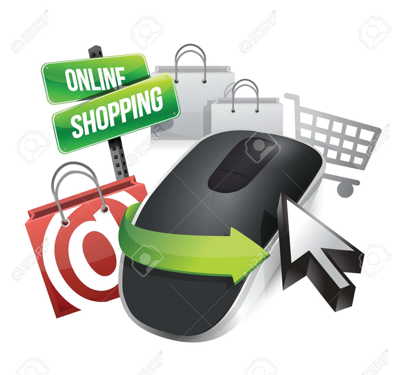 online shopping concept and Wireless computer mouse isolated on white background Stock Vector - 18913124
