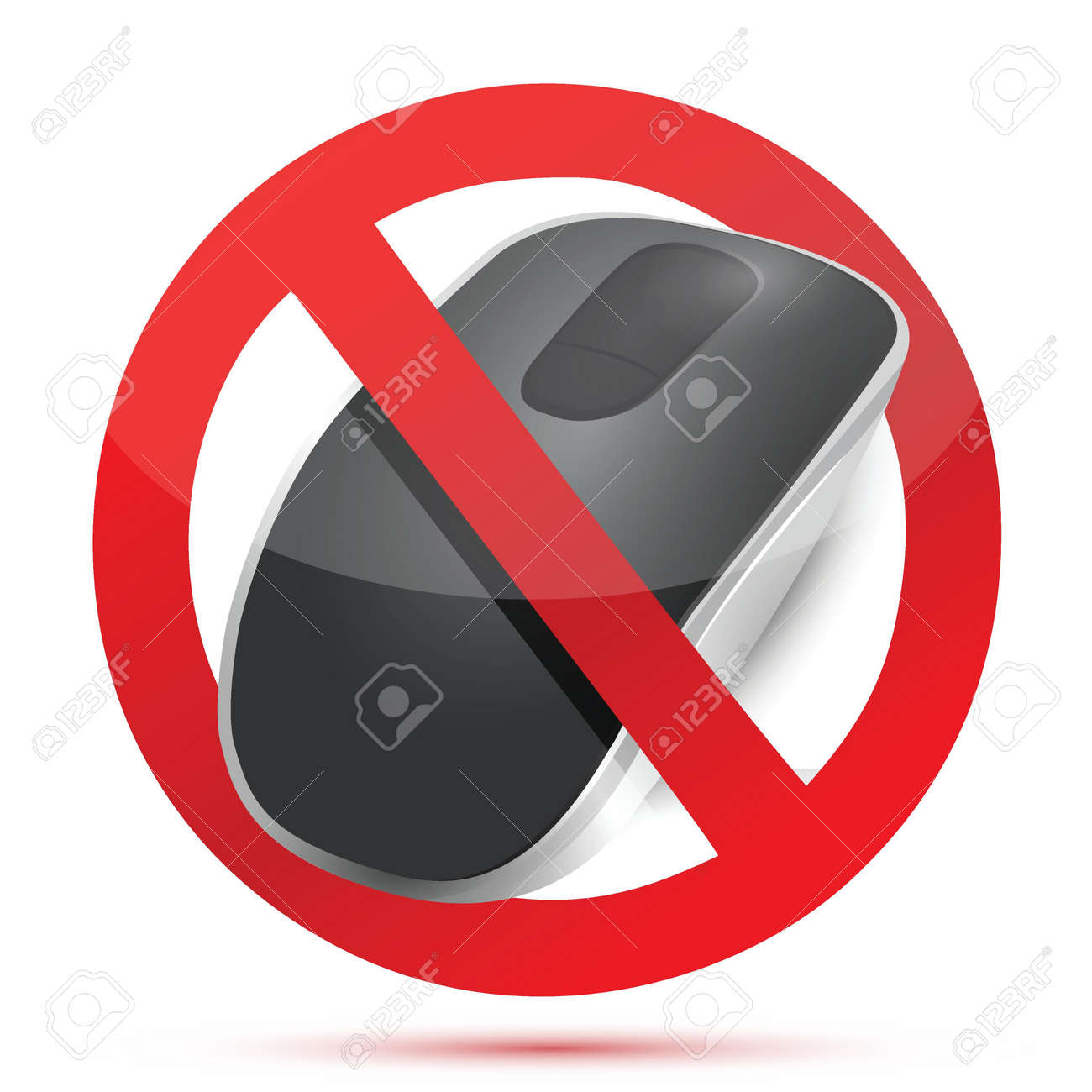 rejected do not sign. Wireless computer mouse isolated on white background Stock Vector - 18965947