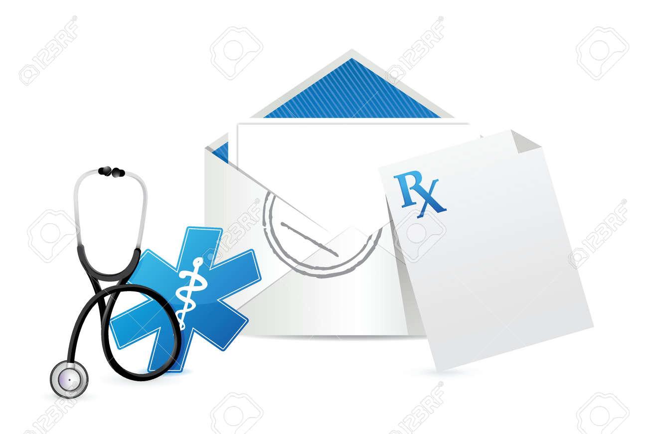 medical prescription envelope letter illustration design over a white background Stock Vector - 18995617