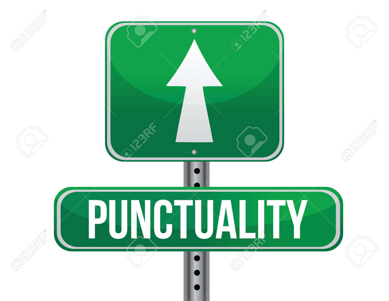 punctuality road sign illustration design over a white background - 19311194