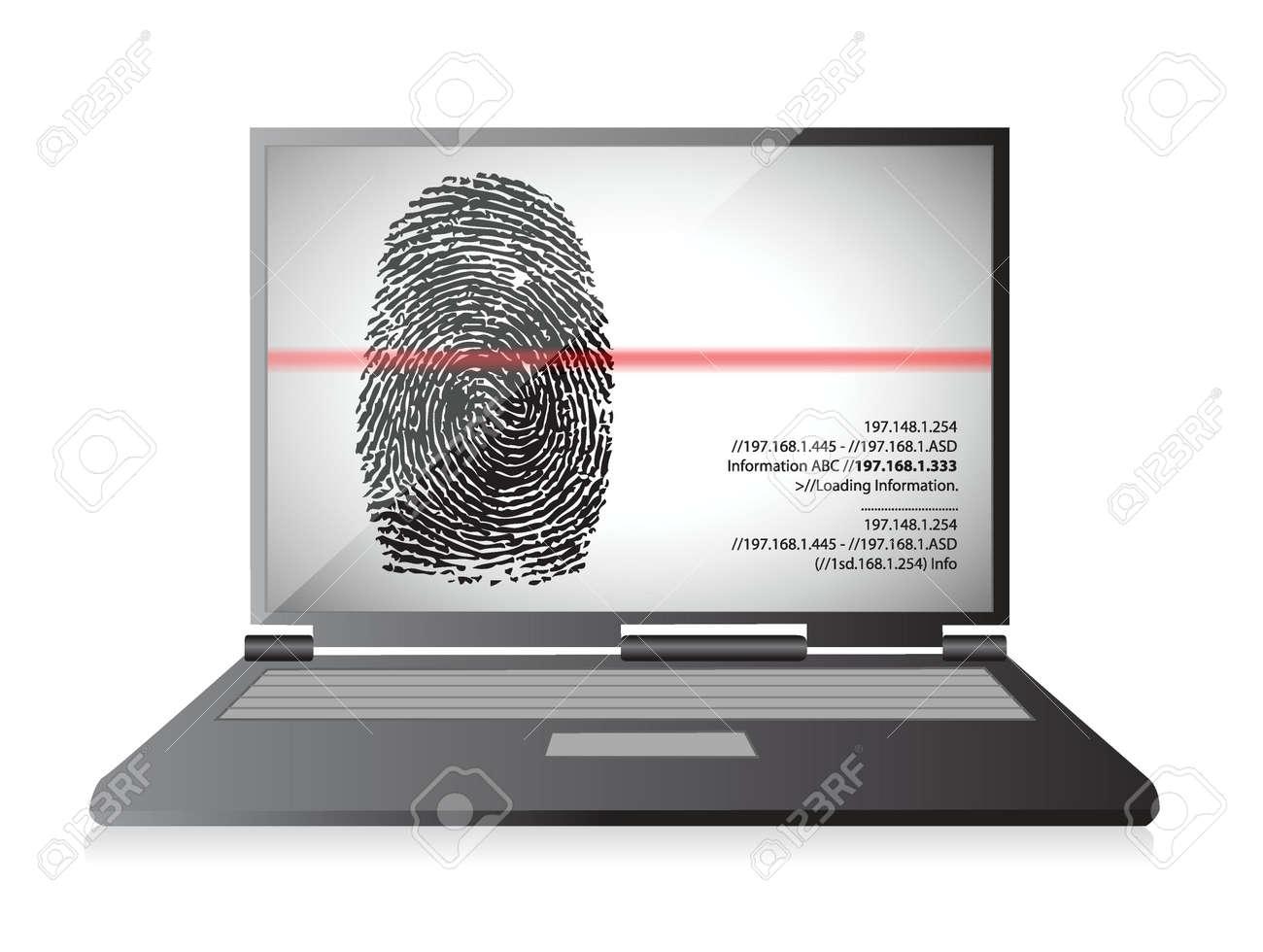 laptop computer scanning a finger print illustration design over white Stock Vector - 19453104