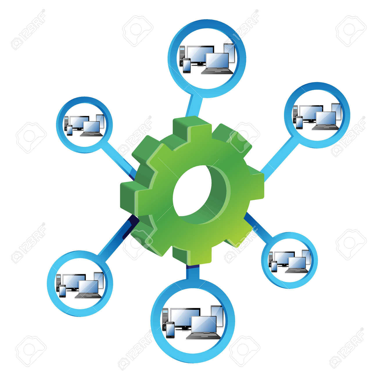 Network Diagram and gears illustration design over a white background. Stock Vector - 19706271