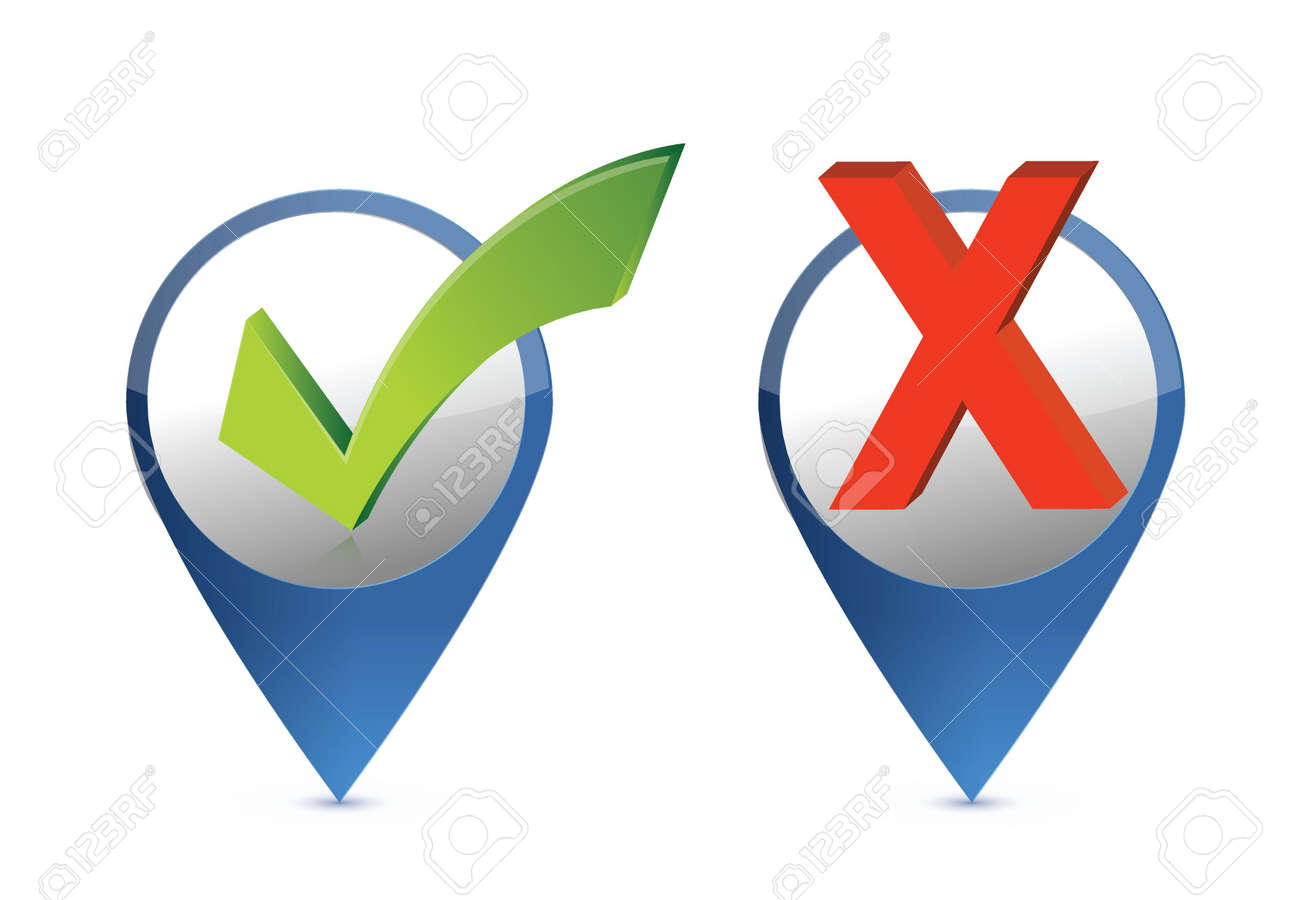 A green check mark and red cross on paper locator illustration design Stock Vector - 19706240