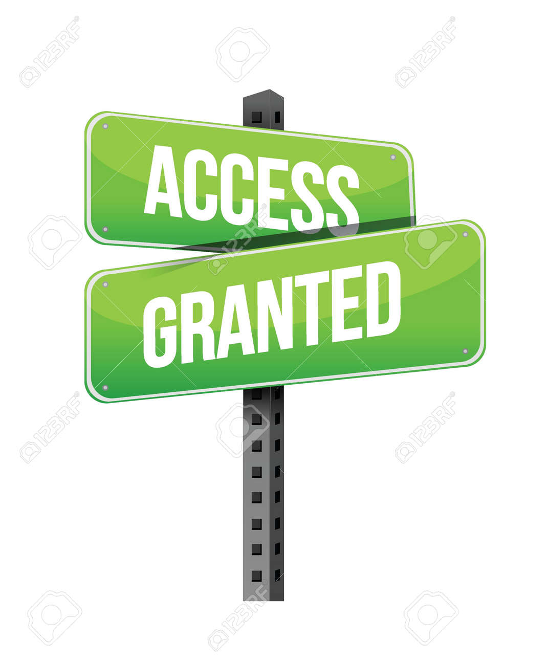 Access Granted road sign illustration design over a white background Stock Vector - 19706185