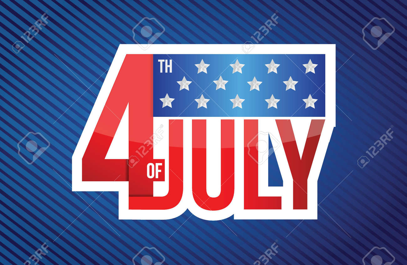 fourth of july sign on a blue lines background Stock Vector - 19706276