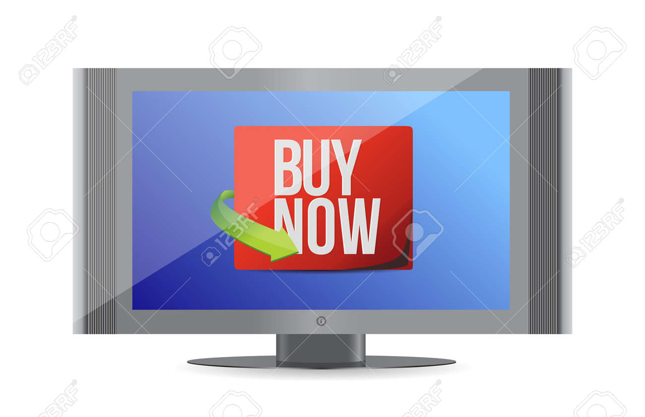 buy now sign on a monitor. illustration design over white Stock Vector - 19706189
