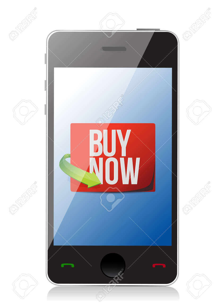 buy now sign on a smartphone. illustration design over white Stock Vector - 19706179