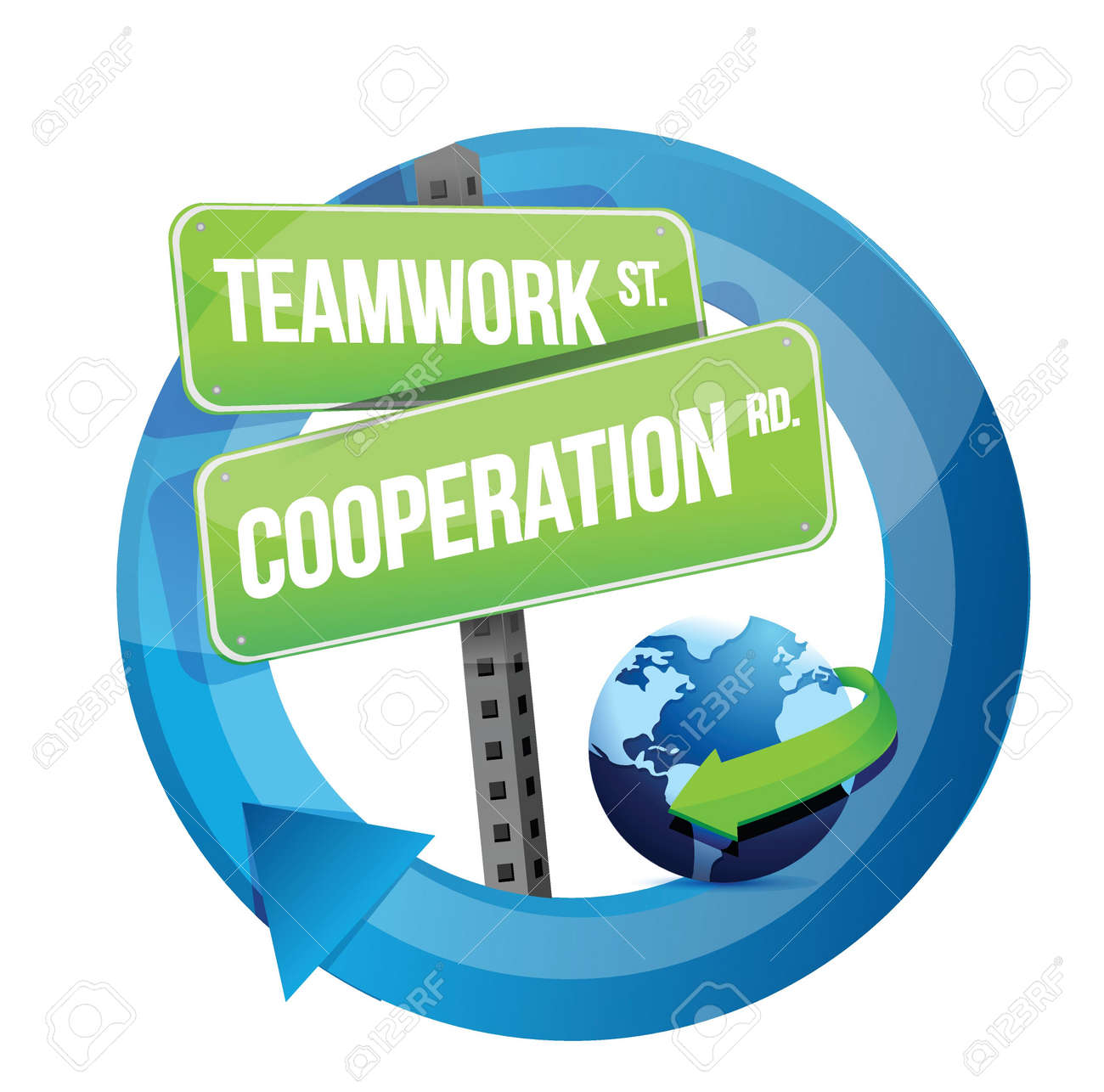 teamwork cooperation road sign illustration design over white Stock Vector - 20069017
