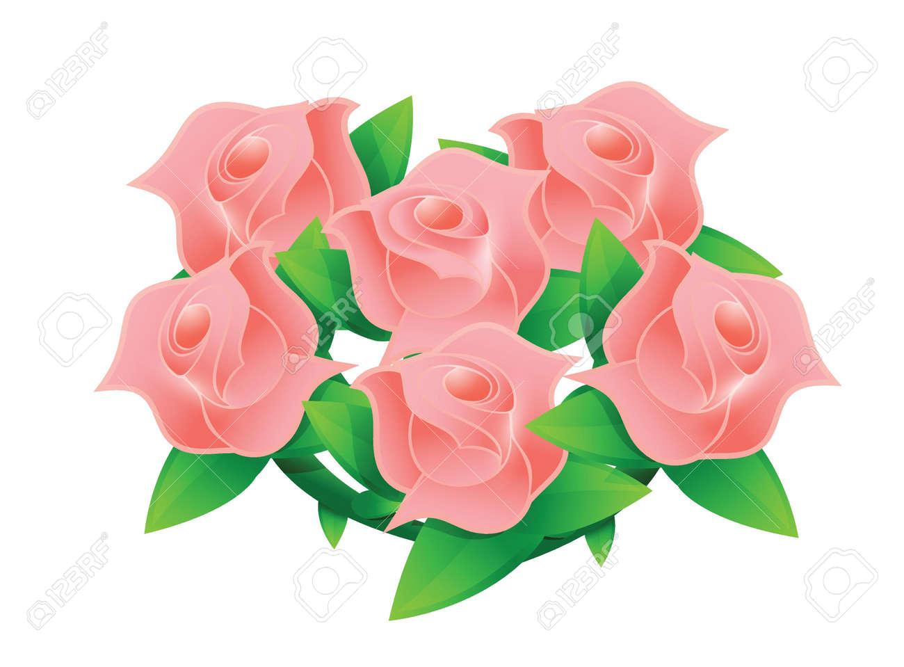 結婚式の花束イラスト デザインの白ピンクの花のイラスト素材ベクタ
