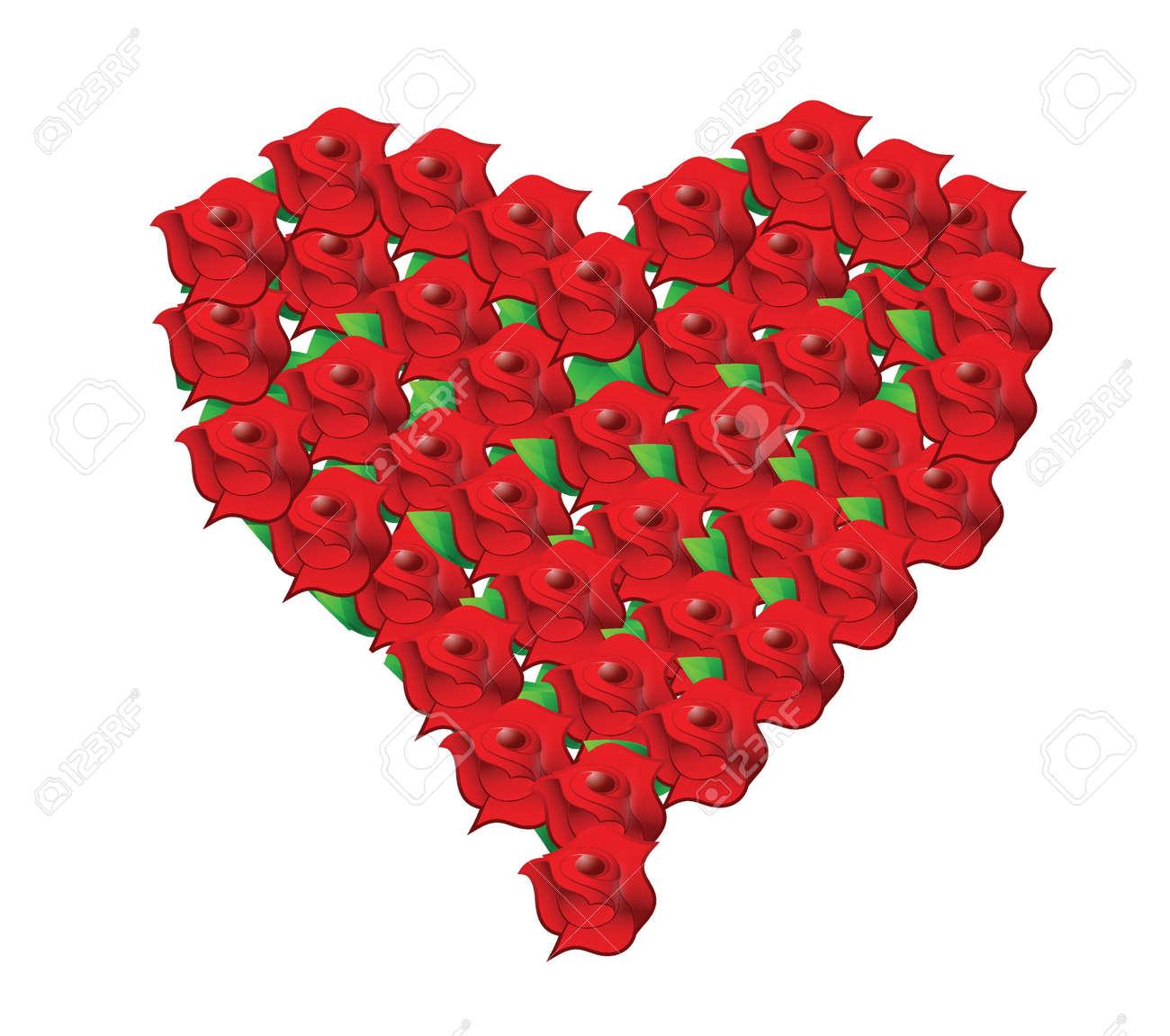 Herz Rote Blume Hochzeitsstrauss Illustration Design In Weiss