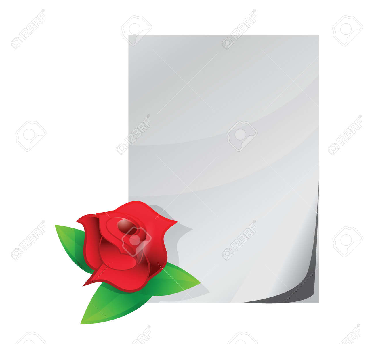 red rose love letter illustration design over a white background stock vector 20151933