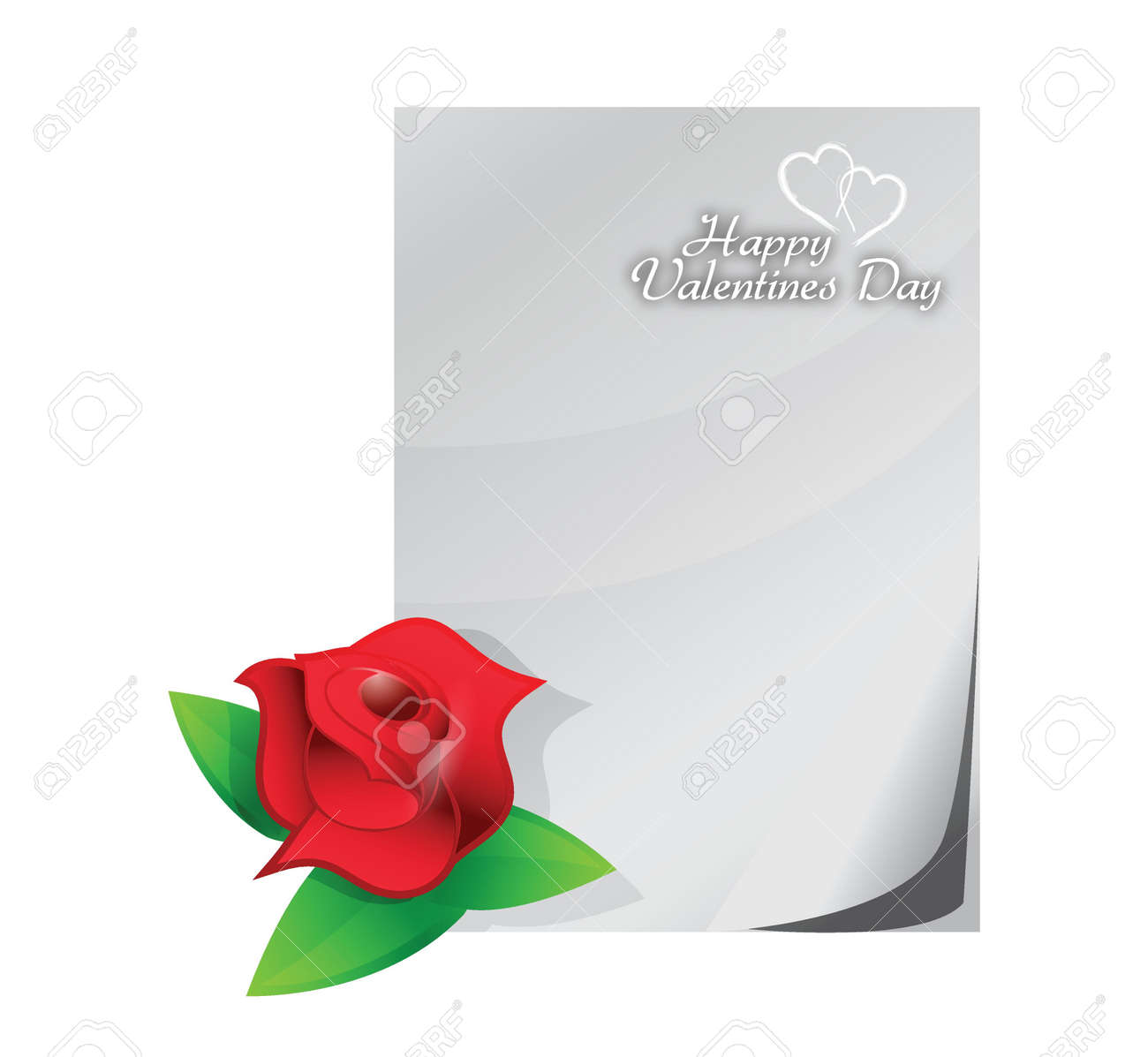 valentine red rose love letter illustration design over a white background Stock Vector - 20151946