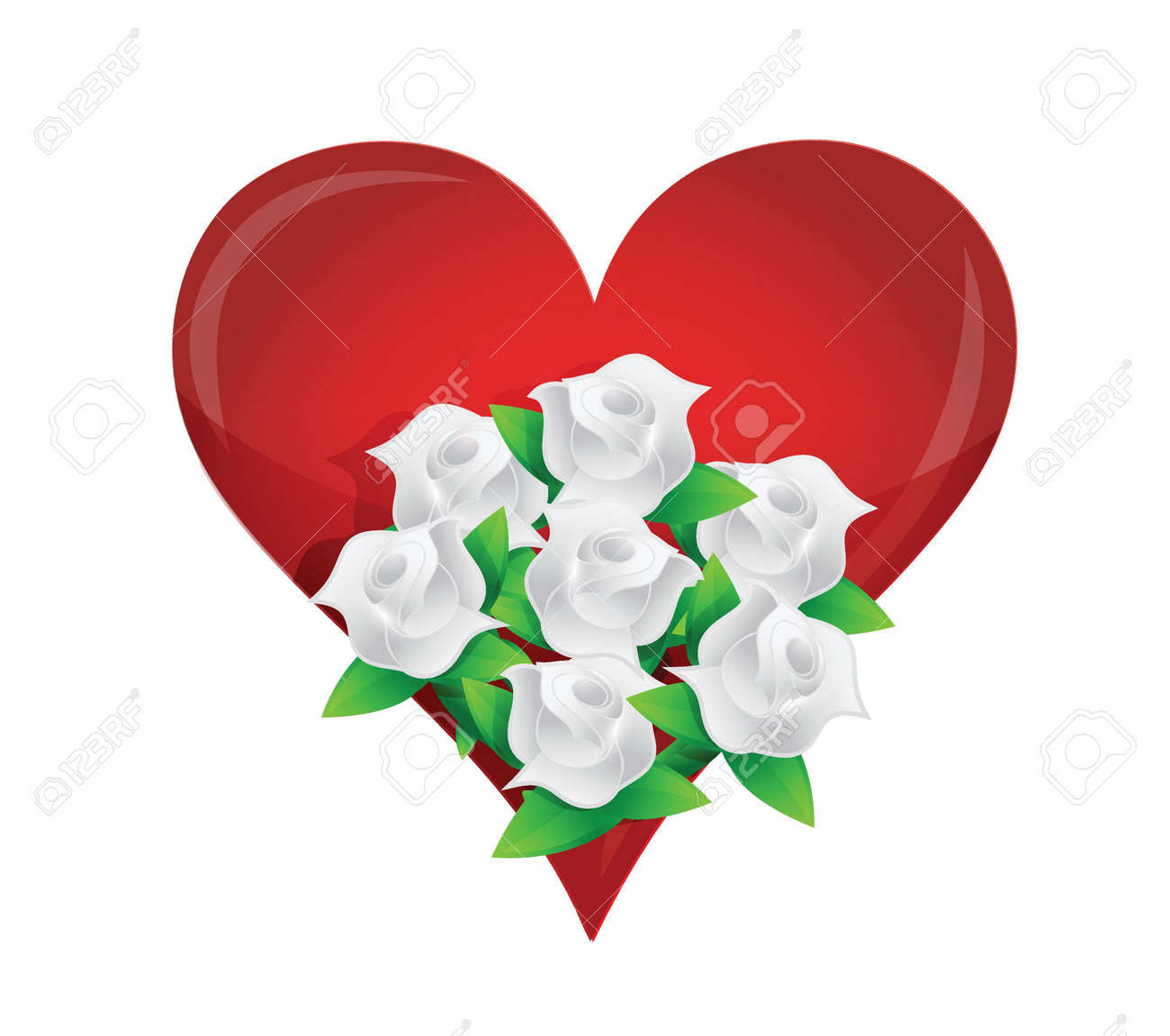 Herz Weisse Blume Hochzeitsstrauss Illustration Design In Weiss