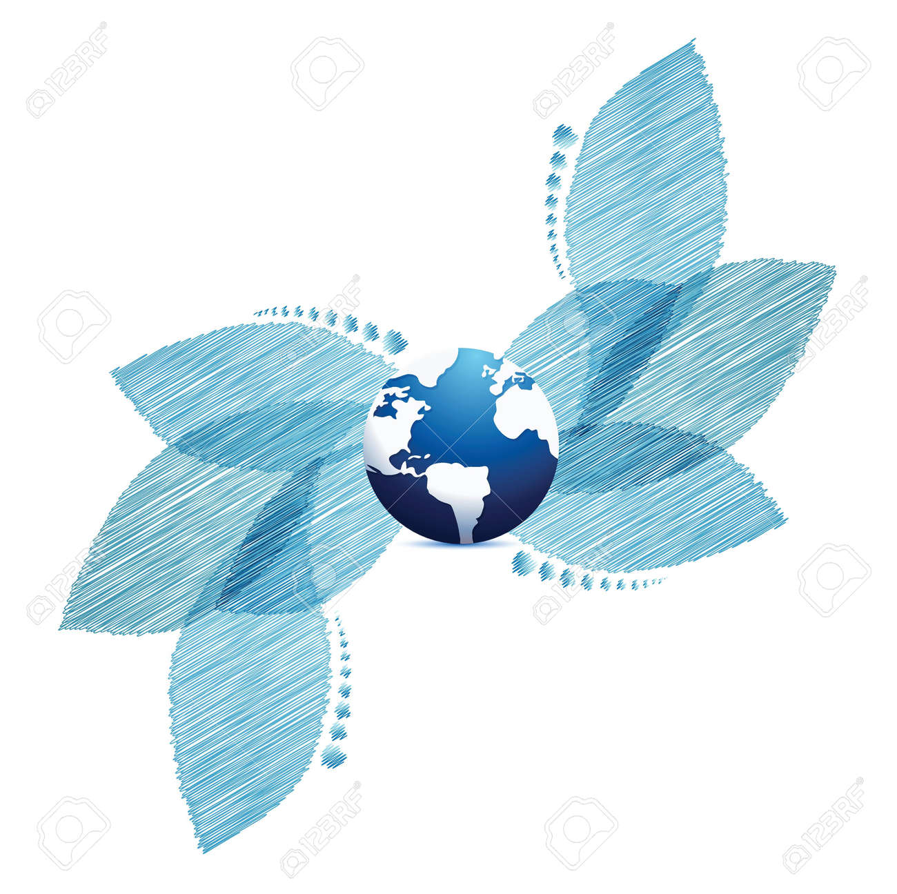 Bright background with blue leaves and globe illustration design Stock Vector - 20208559